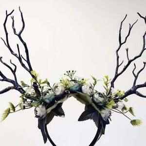 Black Branch Horn Flowers Nymph Forest Horn Headdress Antlers Blue Costume