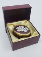 Vintage Framecraft UK Mini Oval Porcelain Trinket Box w Lace
