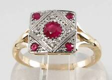 9 Carat Ruby Yellow Gold Ring Art Deco Fine Jewellery