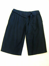 Ladies Black Linen Tailored Casual Knee Length Long City Bermuda Shorts 10