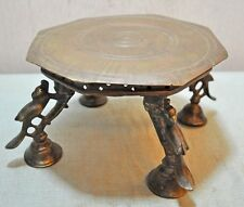 Original Old Antique Fine Hand Crafted Engraved Brass Small Pedestal Stool