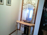 ANTIQUE FRENCH GILTED CAST SOLID BRASS CARVED MARBLE TOP CONSOLE TABLE & MIRROR