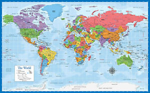World Map Poster Geography Color Flags Wall Chart Updated Made in USA Laminated