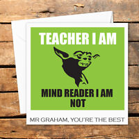 Personalised Thank You Teacher Card Nursery Nurse Male Female Funny Yoda I Am