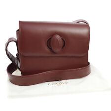 Подлинный Cartier Must De Cartier крест тела наплечная сумка бордо кожа S07712c