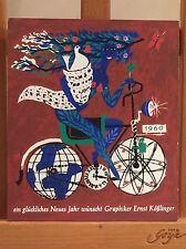 ORIGINAL SIEBDRUCK ERNST KÖßLINGER MÜNCHEN NEUJAHRS KARTE 1960