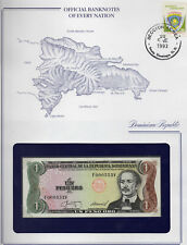 Banknotes of Every Nation Dominican 1987 1 Peso P126b1 UNC F-V Low Serial 000552