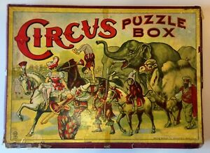 Antique RARE 1890 Milton Bradley CIRCUS Puzzle Box 3 Lithograph Puzzles COMPLETE