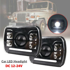 """1Pair 5X7"""" LED Headlight Hi/Lo Beam Rectangular Projector Fit for Jeep Truck SUV"""