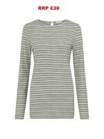 East Stripe Boat Neck  Hemp & Cotton Top, Grey -- All Sizes -- RRP £39