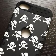 For iPod Touch 5th 6th Gen - HYBRID HARD&SOFT RUBBER SKIN CASE BLACK WHITE SKULL