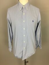 "Men's RALPH LAUREN 'Custom Fit' Pin-Striped Dress Shirt. Blue/White. 16.5, 42"""