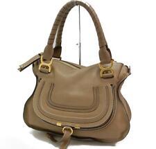 Auth Chloe Marcie Medium Shoulder Bag Leather Brown 0204a