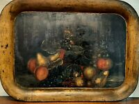 Antique Metal Toleware Tray Hand Painted Fruits & Bird - American Primitive
