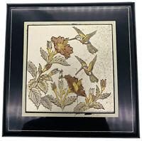 HUMMINGBIRDS San Francisco Music Box Co Jewelry Trinket Box Black Lacquer Japan