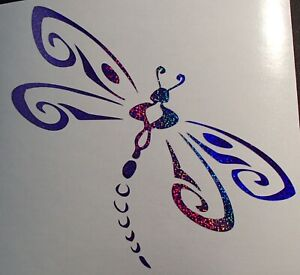 Tribal Dragonfly Dragonflies Holographic Sequins Purple Vinyl Car Window Decal