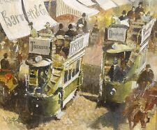 1904 Irish Dublin Grafton Street Scene Horse Cart Tram Cart Antique Oil Painting