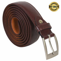 """Leatherboss Genuine Leather Men Big and Tall Size 58"""" Dress Belt, Brown"""