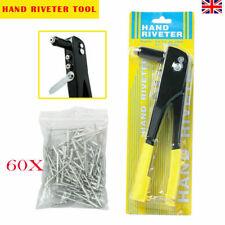 Heavy Duty Pop Rivet Gun Hand Riveter Tool 60 Rivets 4 Head Nozzles 4 Sizes UK