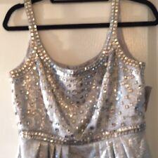 CARMEN MARC VALVO Silver Metallic Brocade Jewel Jacquard Empire Dress Sz 6