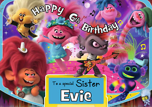 Trolls World Tour - A5 Personalised Birthday Card - ANY Age Relation Name