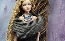 ~Striped Black Grey Mink Fur Stole for Sydney Tyler Gene Sybarite doll~dimitha~