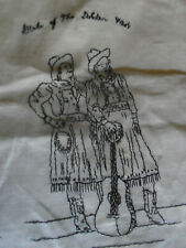 UNIGUE Girls of the Golden West Vintage Embroidered Textile Table Scarf 23X12
