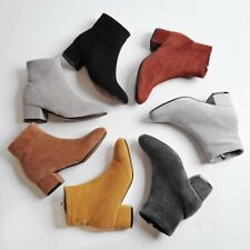 Women's Stylish Square Toe Ankle Boots Chunky Block Heels Zip Casual Suede Shoes