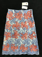 Tory Burch Runway Whitney Hudson Blue & Orange Lace Skirt Womens 6 *NEW* $795
