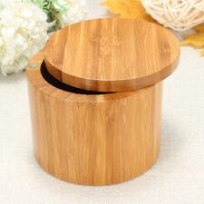 Bamboo Salt & Pepper Box Wood Round Kitchen Storage Case With Magnet Lid