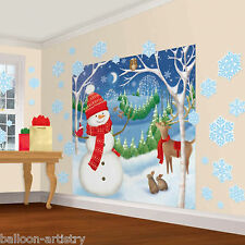 Christmas Cheerful Winter Snowman Cutouts Scene Setter Wall Decorating Kit