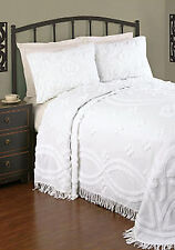 FULL / DOUBLE - PHI - AnnRose 100% Cotton Chenille 3-pc SHAM & BEDSPREAD SET