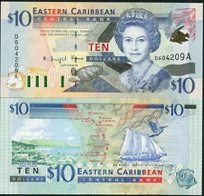 EAST CARIBBEAN STATES $10 TURTLE, SAILBOAT P-38a - UNC!