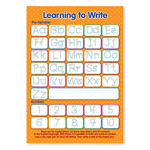 Laminated NEW Learning to Write Letters and Numbers Educational A4 Poster