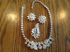 Gorgeous Eisenberg Sparkly Demi Parure Elegant Evening Bridal Necklace Earr Pin