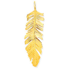 9ct Yellow Gold Small Feather Pendant Size 27x5mm Weight 0.6g Hallmarked