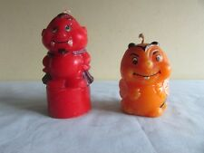 "2 Candles Vintage Novelty ""Little Red Devil"" & ""Busy Bee"" From Edinburgh"