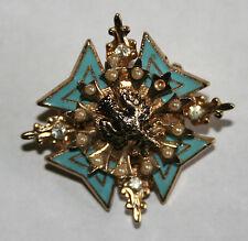 Antique Vintage Enamel Brooch - Blue enamel with Pearls & Rhinestones
