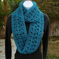 INFINITY SCARF LOOP COWL Turquoise Teal Solid Blue Handmade Crochet Knit Circle