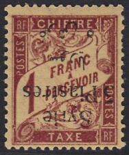 SYRIA 1924 POSTAGE DUE 5pi ON 1 FRANC BILINGUAL OVPT INVERTED SG D179b H. V RARE