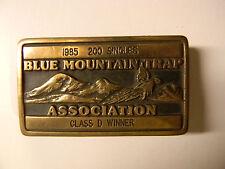 BELT BUCKLE BLUE MOUNTAIN TRAP SHOOTING TROPHY 1985 SOLID BRASS CLASS D WINNER