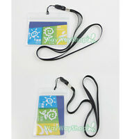 1 3 5 pcs ID Card Holder Vertical Horizontal Strap Lanyard Badge Pouch Clear