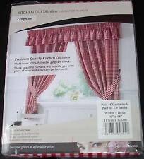 Gingham Check Kitchen Curtains, Free Tie-backs ,Pelmet & Seat Pads avaliable