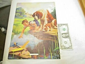 "vintage Hy Hintermeister ""Grounded"" Boy Airplane Dog Print Jigsaw Puzzle 14""x10"""