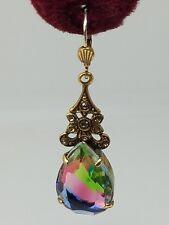 Fold Tone Multi Color Iris Glass ? Dangle Earrings W. Germany