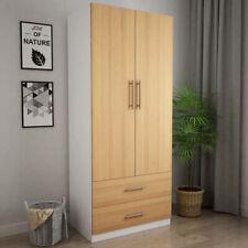 Wooden 2 Door Wardrobe with 2 Drawers Bedroom Storage White, Oak finish Door
