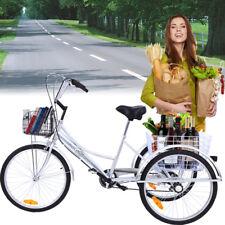 "24"" Dreirad Fahrrad Einkaufe Dreirad Silber  6-Gang Erwachsene 2 Korb Radfahren"