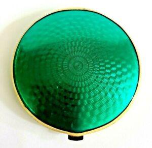 Art Deco Bright Green Faux Guilloche Enamel Double Sides Hand Mirror Compact.