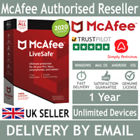 McAfee LiveSafe 2020 Unlimited Multi Devices 1 Year- 5 Minute Delivery by Email*