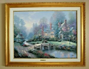 Thomas Kinkade Beyond Spring Gate Signed Numbered Framed Canvas With COA 25x34